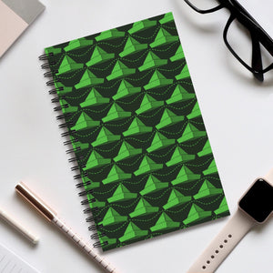 Paper Hats Pattern | Black Green | Spiral Notebook 80 pages-80 pages notebook-Eggenland