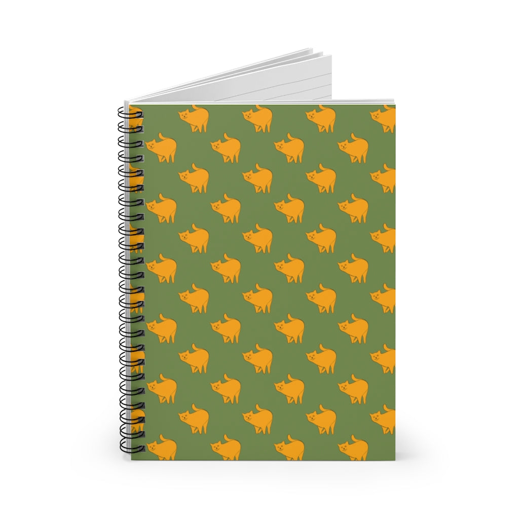 Yellow Cat Pattern | Green | Lined Spiral Notebook 118 Pages-118 pages notebook-Spiral Notebook-Eggenland