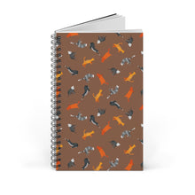 Load image into Gallery viewer, Funky Cats Pattern | Brown | Spiral Notebook 80 pages-80 pages notebook-Blank-Spiral Notebook-Eggenland