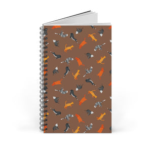 Funky Cats Pattern | Brown | Spiral Notebook 80 pages-80 pages notebook-Blank-Spiral Notebook-Eggenland