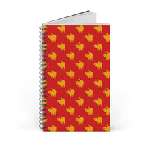 Load image into Gallery viewer, Yellow Cat Pattern | Red | Spiral Notebook 80 pages-80 pages notebook-Blank-Spiral Notebook-Eggenland