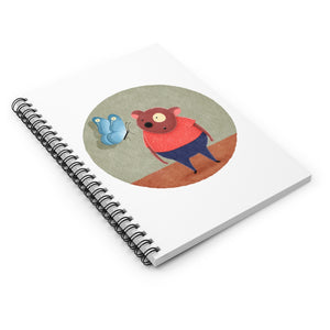 Bear and Butterfly | Lined Spiral Notebook 118 Pages-118 pages notebook-Spiral Notebook-Eggenland