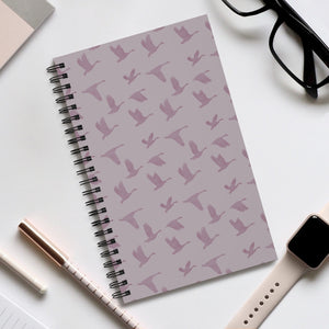 Flying Birds Pattern | Violet | Spiral Notebook 80 pages-80 pages notebook-Eggenland