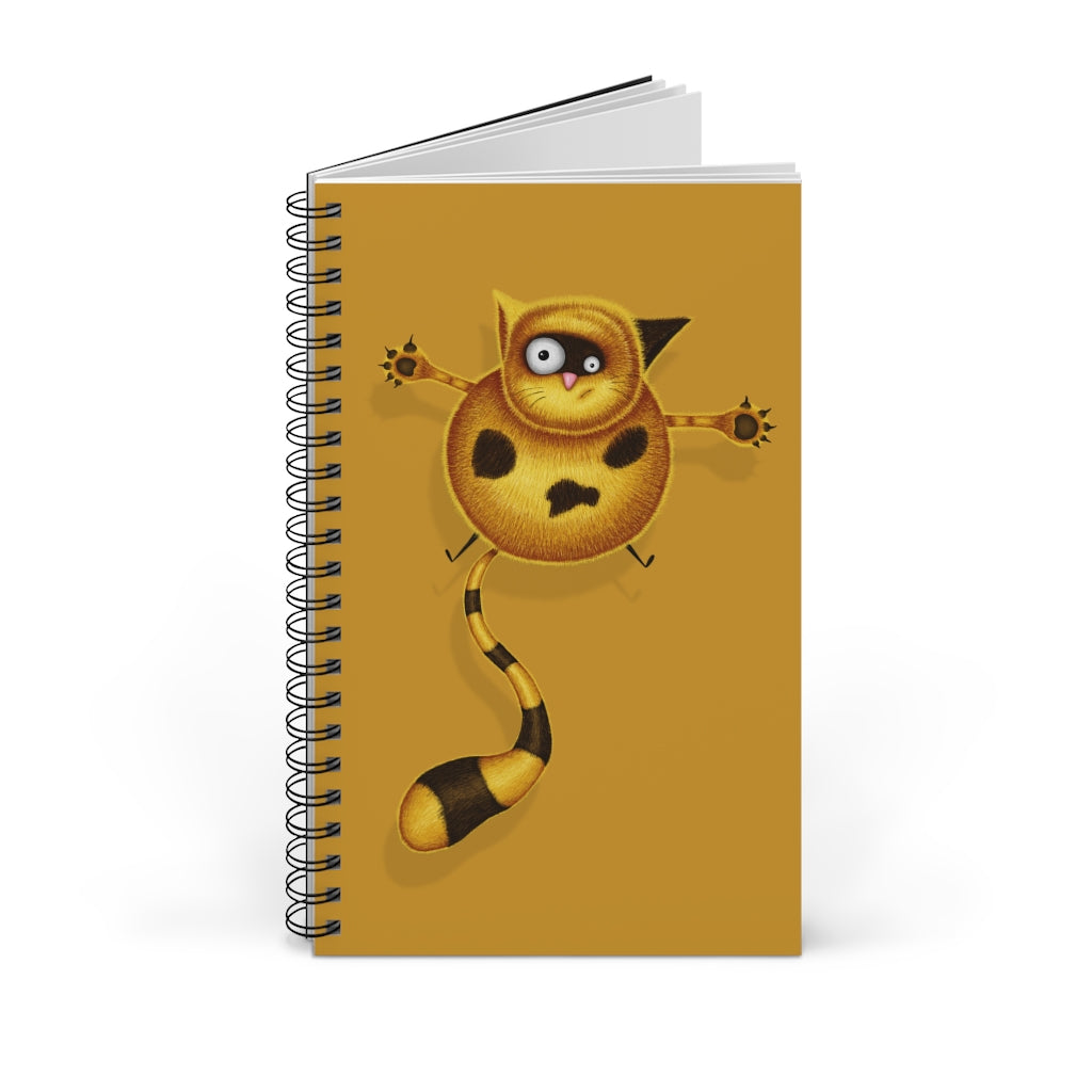 Fat Cat | Golden | Spiral Notebook 80 pages-80 pages notebook-Blank-Spiral Notebook-Eggenland