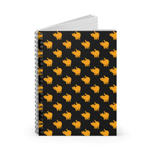 Load image into Gallery viewer, Yellow Cat Pattern | Black | Lined Spiral Notebook 118 Pages-118 pages notebook-Spiral Notebook-Eggenland