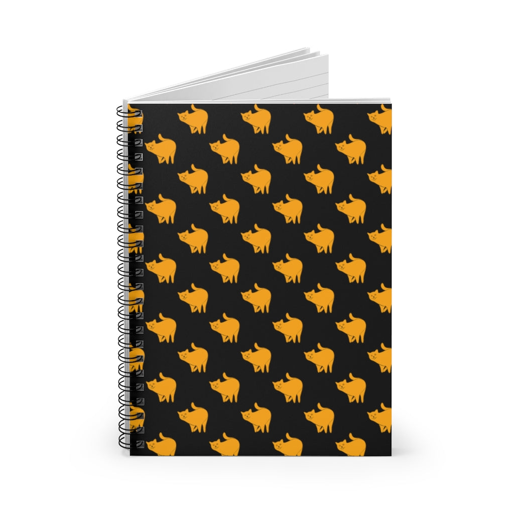 Yellow Cat Pattern | Black | Lined Spiral Notebook 118 Pages-118 pages notebook-Spiral Notebook-Eggenland