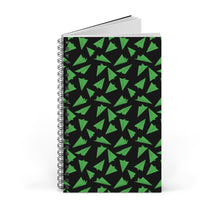 Load image into Gallery viewer, Paper Planes Pattern | Black Green | Spiral Notebook 80 pages-80 pages notebook-Blank-Spiral Notebook-Eggenland