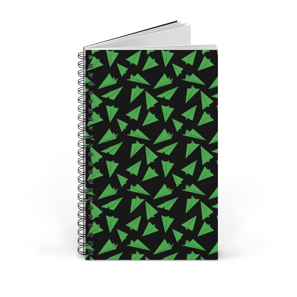 Paper Planes Pattern | Black Green | Spiral Notebook 80 pages-80 pages notebook-Blank-Spiral Notebook-Eggenland