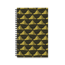 Load image into Gallery viewer, Paper Hats Pattern | Black Yeallow | Spiral Notebook 80 pages-80 pages notebook-Eggenland