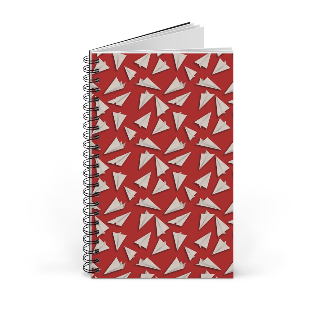Paper Planes Pattern | Red | Spiral Notebook 80 pages-80 pages notebook-Blank-Spiral Notebook-Eggenland