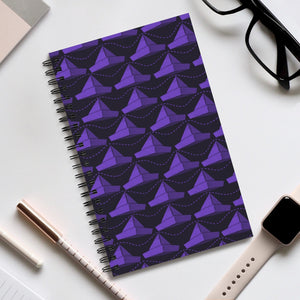 Paper Hats Pattern | Black Violet | Spiral Notebook 80 pages-80 pages notebook-Eggenland