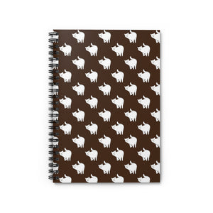 Cute Cat Pattern | Brown | Lined Spiral Notebook 118 Pages-118 pages notebook-Spiral Notebook-Eggenland