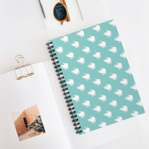 Cute Cat Pattern | Blue | Lined Spiral Notebook 118 Pages-118 pages notebook-Spiral Notebook-Eggenland