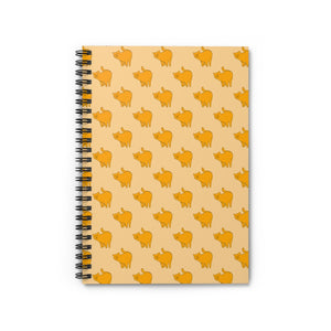 Yellow Cat Pattern | Cream | Lined Spiral Notebook 118 Pages-118 pages notebook-Spiral Notebook-Eggenland