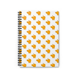 Yellow Cat Pattern | Lined Spiral Notebook 118 Pages-118 pages notebook-Spiral Notebook-Eggenland