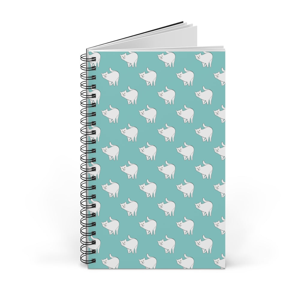 Cute Cat Pattern | Blue | Spiral Notebook 80 pages-80 pages notebook-Blank-Spiral Notebook-Eggenland