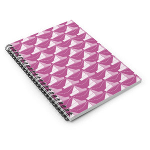 Paper Hats Pattern | Pink | Lined Spiral Notebook 118 Pages-118 pages notebook-Spiral Notebook-Eggenland