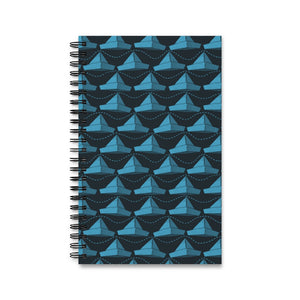 Paper Hats Pattern | Black Blue | Spiral Notebook 80 pages-80 pages notebook-Eggenland