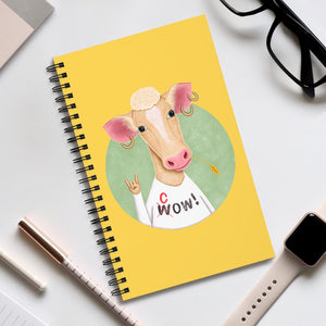Wow Cow | Yellow | Spiral Notebook 80 pages-80 pages notebook-Eggenland