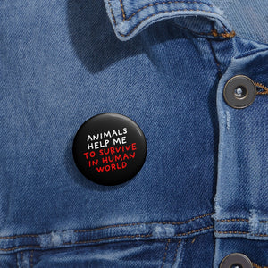 Animals Help Me | Black | Pin Buttons-pin buttons-Eggenland