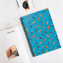 Load image into Gallery viewer, Funky Cats Pattern | Blue | Lined Spiral Notebook 118 Pages-118 pages notebook-Spiral Notebook-Eggenland