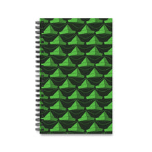 Load image into Gallery viewer, Paper Hats Pattern | Black Green | Spiral Notebook 80 pages-80 pages notebook-Lined-Spiral Notebook-Eggenland