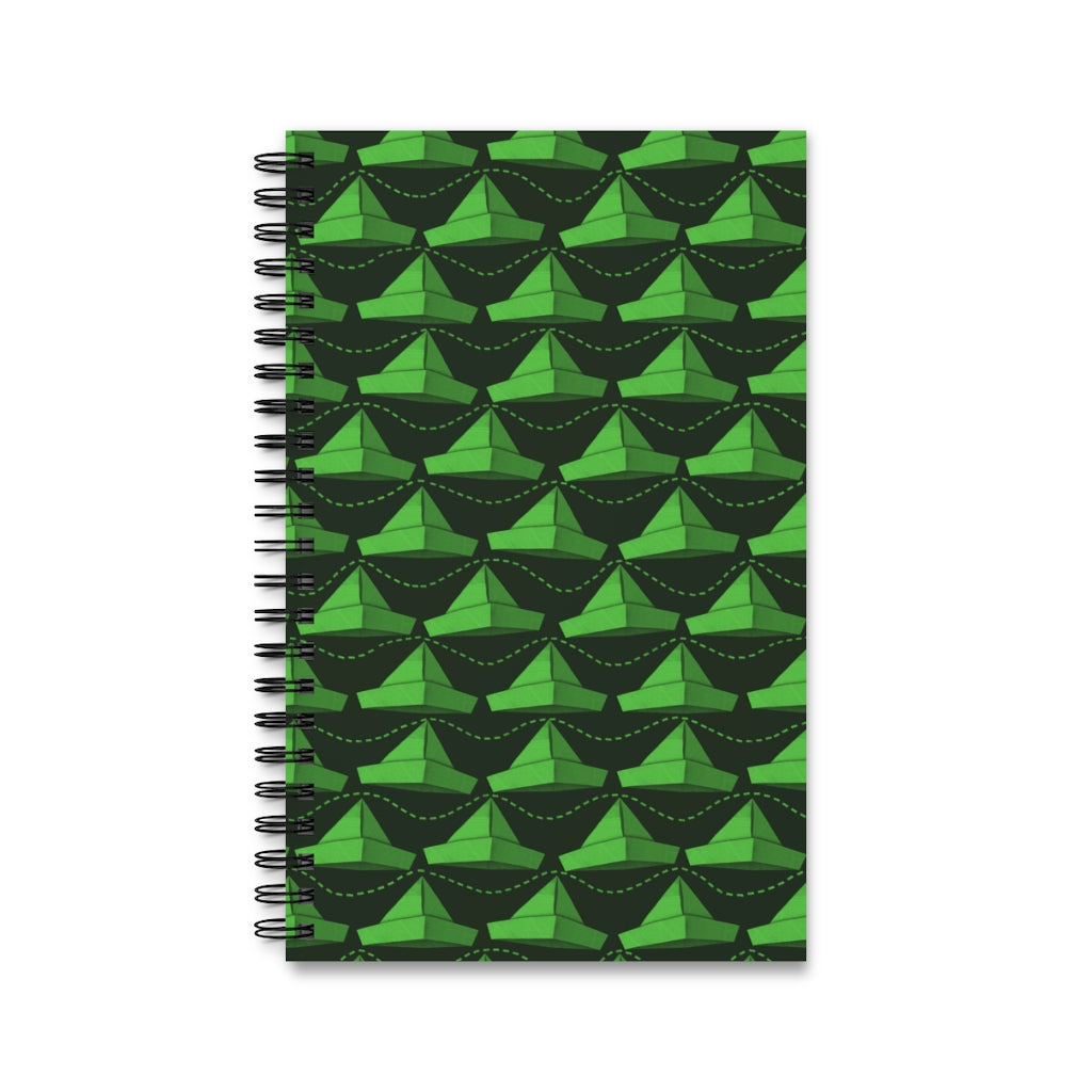 Paper Hats Pattern | Black Green | Spiral Notebook 80 pages-80 pages notebook-Lined-Spiral Notebook-Eggenland