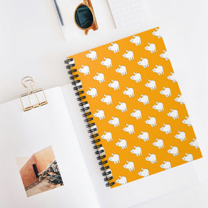 Cute Cat Pattern | Orange | Lined Spiral Notebook 118 Pages-118 pages notebook-Spiral Notebook-Eggenland