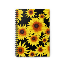 Load image into Gallery viewer, Blooming Flowers | Black | Lined Spiral Notebook 118 Pages-118 pages notebook-Spiral Notebook-Eggenland