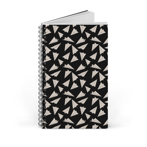 Paper Planes Pattern | Black and White | Spiral Notebook 80 pages-80 pages notebook-Blank-Spiral Notebook-Eggenland