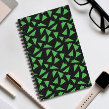 Load image into Gallery viewer, Paper Planes Pattern | Black Green | Spiral Notebook 80 pages-80 pages notebook-Eggenland