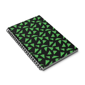 Paper Planes Pattern | Black Green | Spiral Notebook 80 pages-80 pages notebook-Eggenland