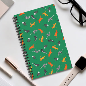 Funky Cats Pattern | Green | Spiral Notebook 80 pages-80 pages notebook-Eggenland