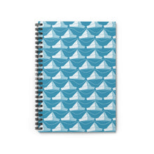 Load image into Gallery viewer, Paper Hats Pattern | Blue White | Lined Spiral Notebook 118 Pages-118 pages notebook-Spiral Notebook-Eggenland