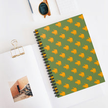 Load image into Gallery viewer, Yellow Cat Pattern | Green | Lined Spiral Notebook 118 Pages-118 pages notebook-Spiral Notebook-Eggenland