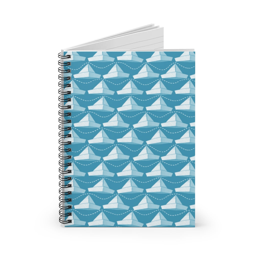 Paper Hats Pattern | Blue White | Lined Spiral Notebook 118 Pages-118 pages notebook-Spiral Notebook-Eggenland