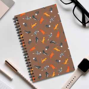 Funky Cats Pattern | Brown | Spiral Notebook 80 pages-80 pages notebook-Eggenland