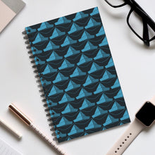 Load image into Gallery viewer, Paper Hats Pattern | Black Blue | Spiral Notebook 80 pages-80 pages notebook-Eggenland