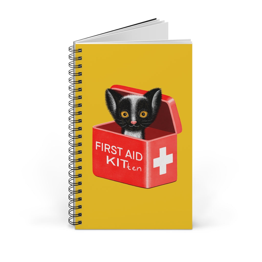 FIRST AID KITten | Yellow | Spiral Notebook 80 pages-80 pages notebook-Blank-Spiral Notebook-Eggenland