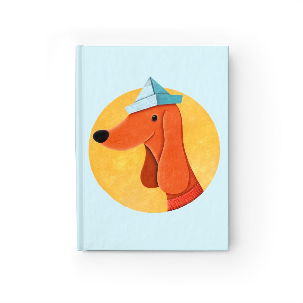 Dog with Newspaper Hat | Blue | Journal - Blank-blank journals-Journal-Eggenland