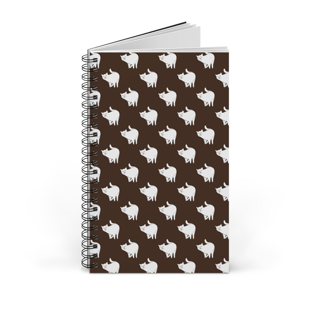 Cute Cat Pattern | Brown | Spiral Notebook 80 pages-80 pages notebook-Blank-Spiral Notebook-Eggenland