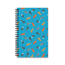Load image into Gallery viewer, Funky Cats Pattern | Blue | Spiral Notebook 80 pages-80 pages notebook-Eggenland