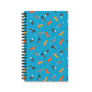 Funky Cats Pattern | Blue | Spiral Notebook 80 pages-80 pages notebook-Eggenland