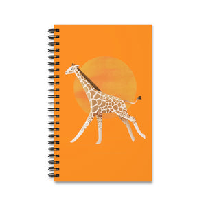 Giraffe and Sun | Orange | Spiral Notebook 80 pages-80 pages notebook-Eggenland