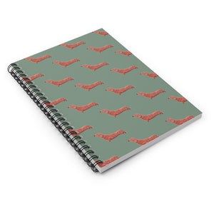 Cute Dachshund Dog | Green | Lined Spiral Notebook 118 Pages-118 pages notebook-Spiral Notebook-Eggenland
