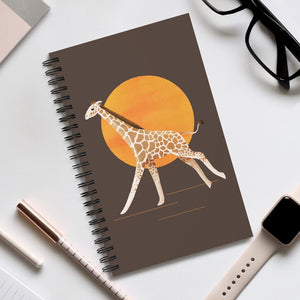 Giraffe and Sun | Brown | Spiral Notebook 80 pages-80 pages notebook-Eggenland