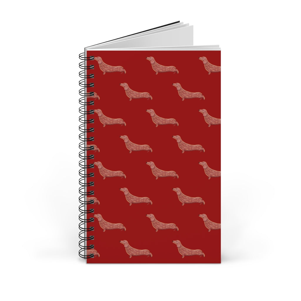 Cute Dachshund Dog | Red | Spiral Notebook 80 pages-80 pages notebook-Blank-Spiral Notebook-Eggenland