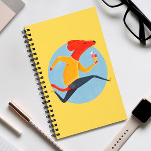 Dog with Ice Cream | Yellow | Spiral Notebook 80 pages-80 pages notebook-Eggenland