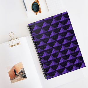 Paper Hats Pattern | Black Violet | Lined Spiral Notebook 118 Pages-118 pages notebook-Spiral Notebook-Eggenland