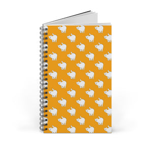 Cute Cat Pattern | Yellow | Spiral Notebook 80 pages-80 pages notebook-Blank-Spiral Notebook-Eggenland